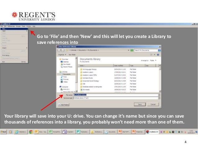 4  Go to 'File' and then 'New' and this will let you create a Library to  save references into  Your library will save int...