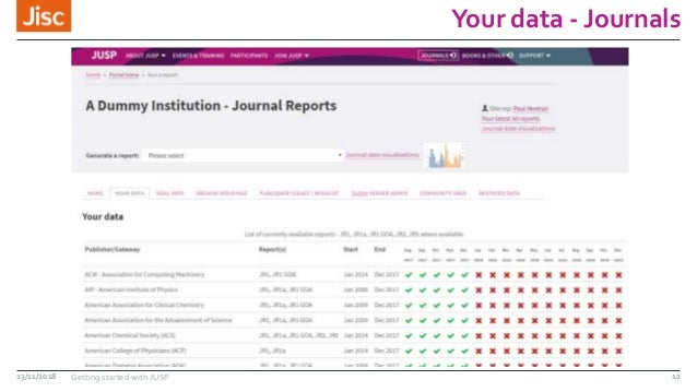 Your data - Journals 13/11/2018 Getting started with JUSP 12