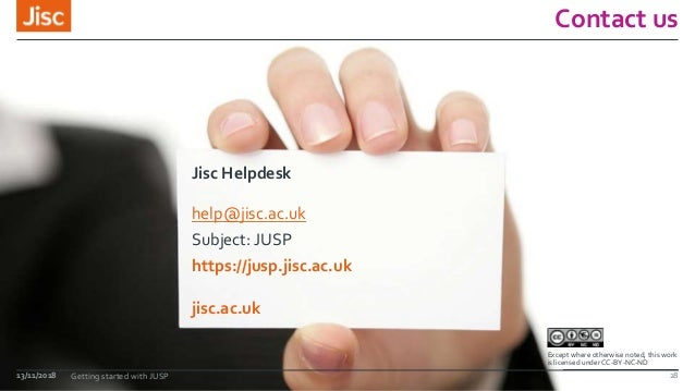 jisc.ac.uk Except where otherwise noted, this work is licensed under CC-BY-NC-ND Contact us Jisc Helpdesk help@jisc.ac.uk ...
