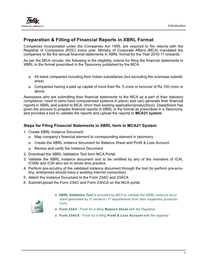 Getting started with mca reports (in xbrl format) | Tally Corporate S…