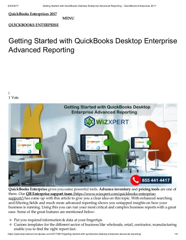 Getting Started With Quick Books Desktop Enterprise Advanced Reportin