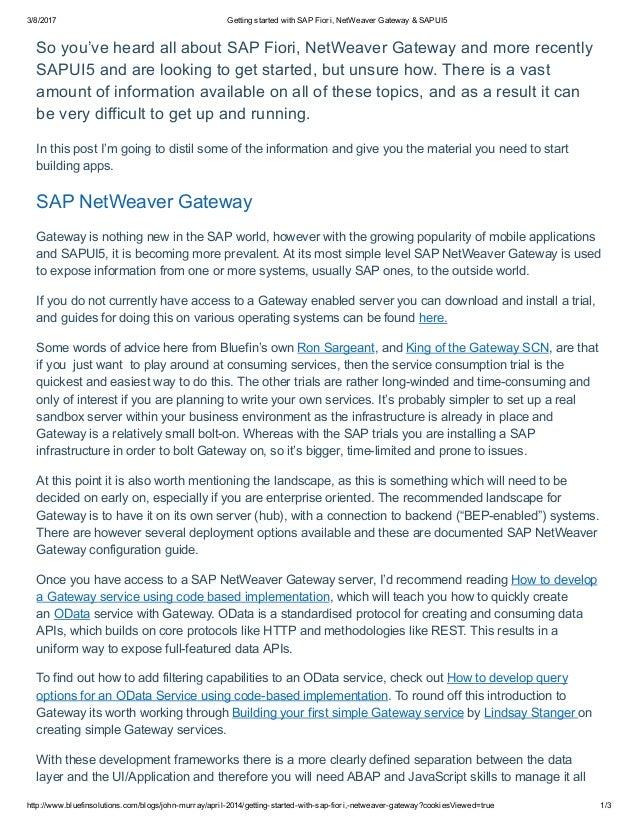 Fiori 10 Exercises.Getting Started With Sap Fiori Net Weaver Gateway Amp Sapui5