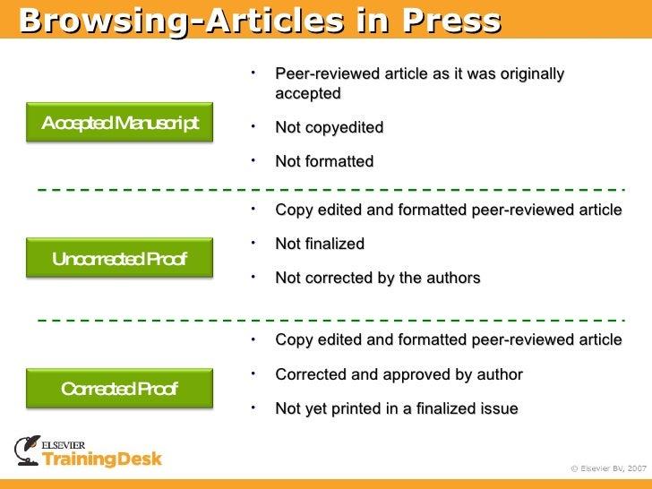 Browsing-Articles in Press                      •   Peer-reviewed article as it was originally                          ac...