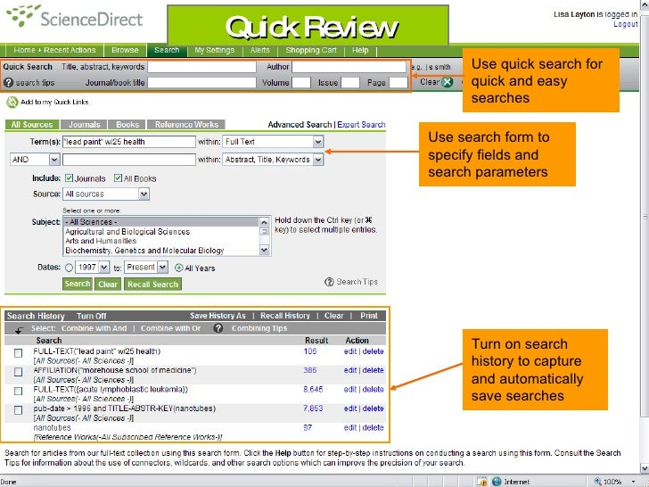 Quick Review                      Use quick search for                      quick and easy                      searches  ...