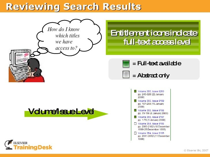 Reviewing Search Results          How do I know    Entitlement icons           which titles           we have             ...