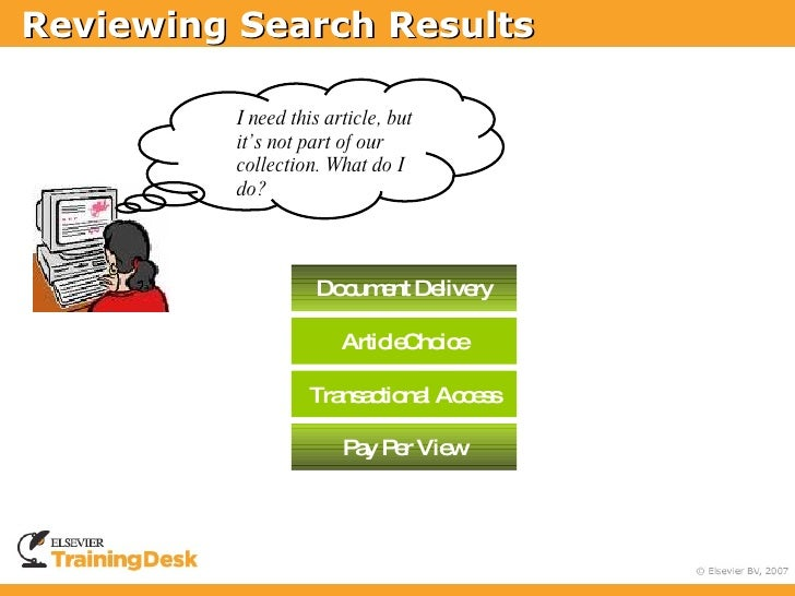 Reviewing Search Results            I need this article,           but it's not part of           our collection. What    ...