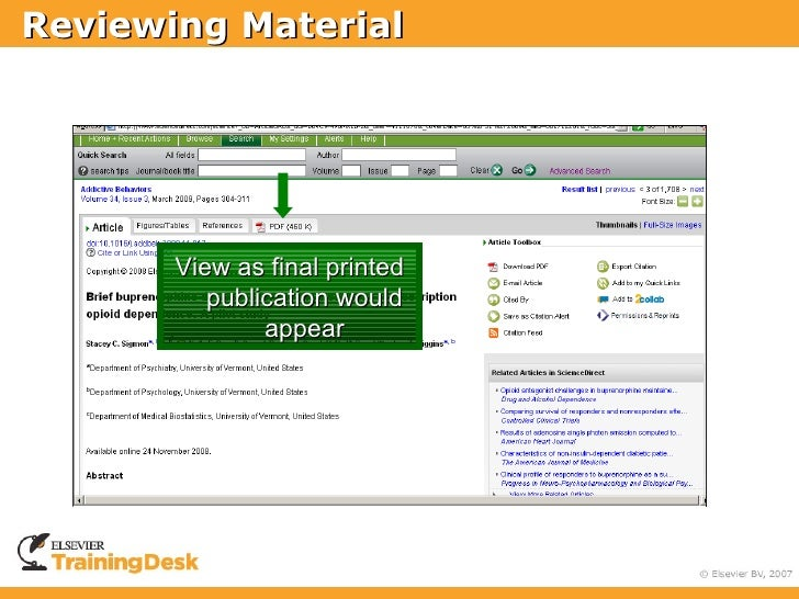 Reviewing Material            View as final printed           publication would                appear