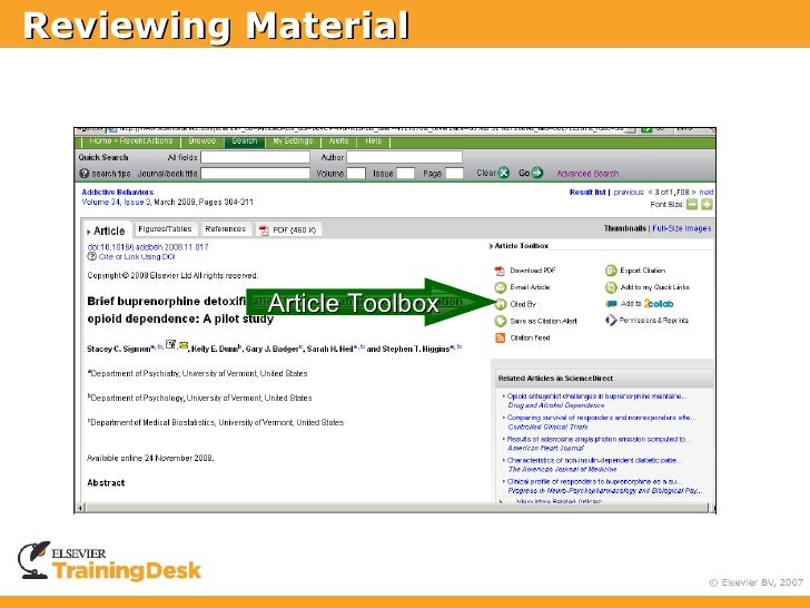 Reviewing Material                Article Toolbox
