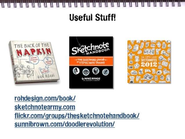 Useful Stuff!rohdesign.com/book/sketchnotearmy.comflickr.com/groups/thesketchnotehandbook/sunnibrown.com/doodlerevolution/