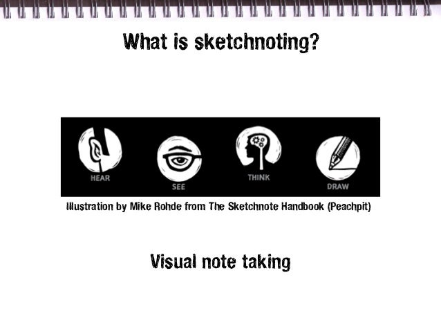What is sketchnoting?Illustration by Mike Rohde from The Sketchnote Handbook (Peachpit)                  Visual note taking