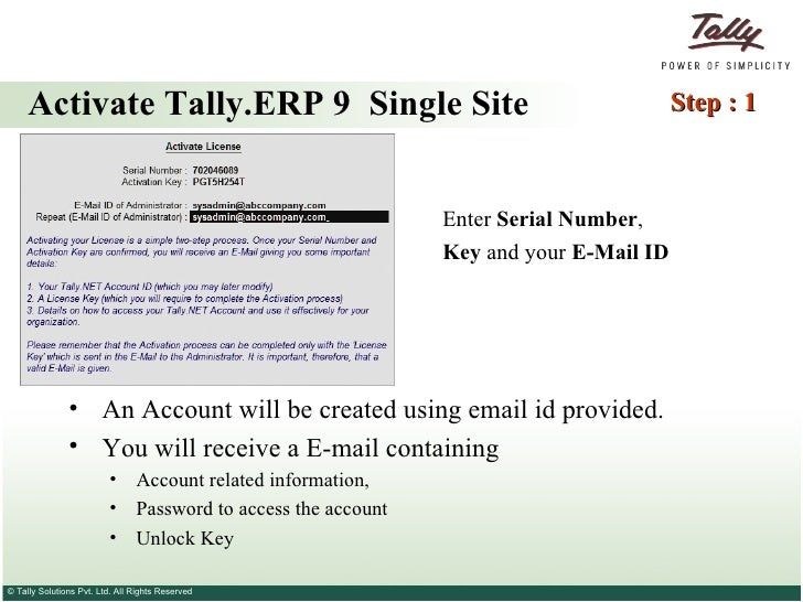 Activating Your Tally.ERP 9 License