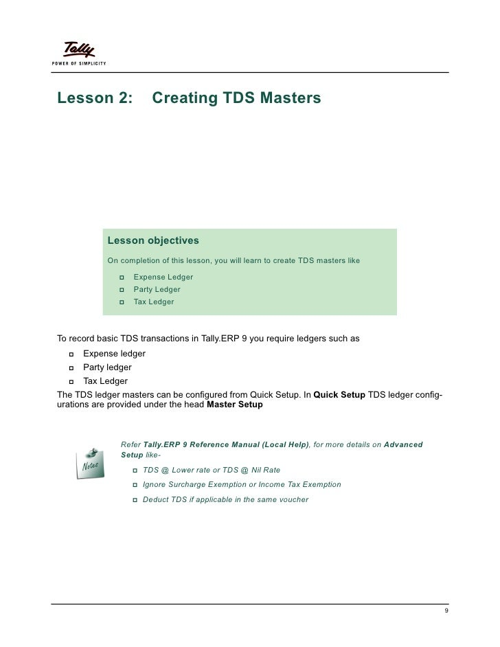 Lesson 2:                Creating TDS Masters            Lesson objectives            On completion of this lesson, you wi...