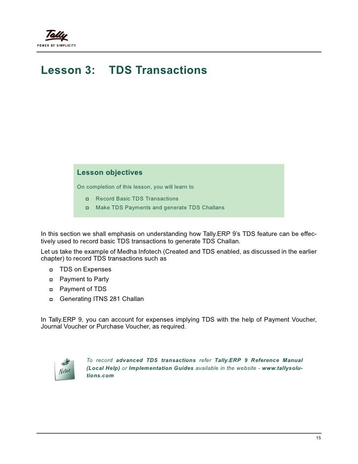 Lesson 3:               TDS Transactions            Lesson objectives            On completion of this lesson, you will le...