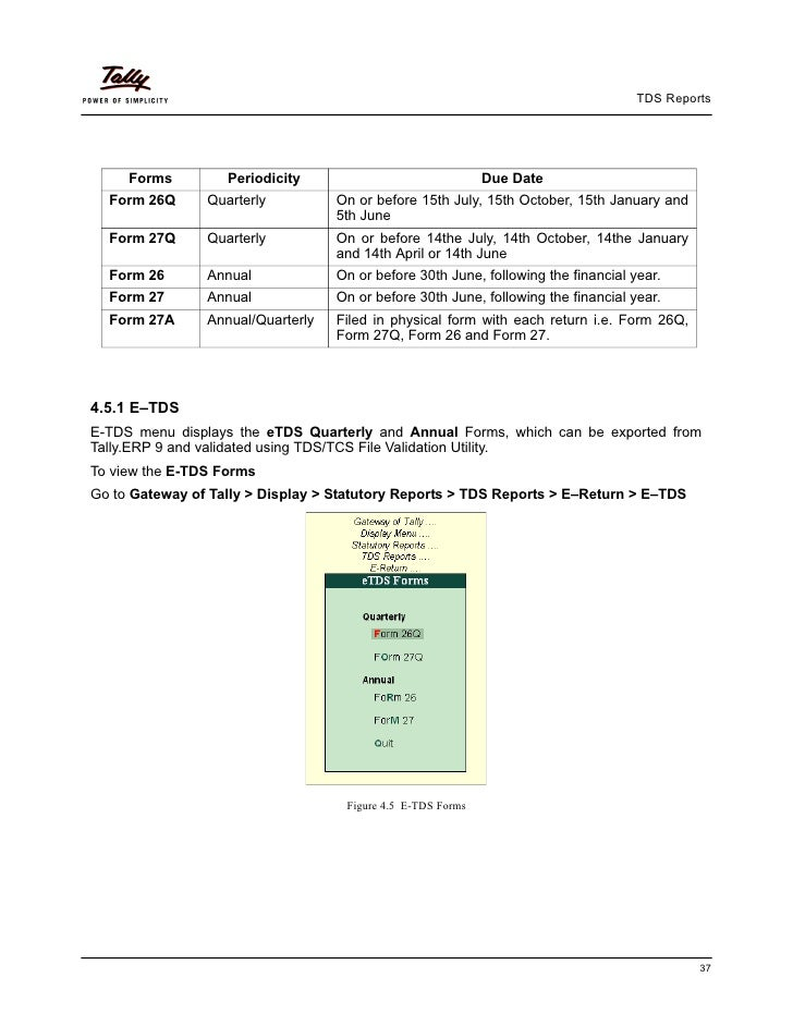 TDS Reports     Forms         Periodicity                               Due Date  Form 26Q      Quarterly          On or b...