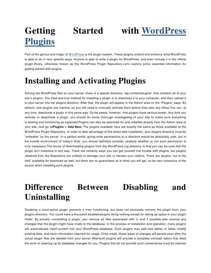 "Getting Started with HYPERLINK "" http://www.pressalive.com/category/wordpress/wordpress-plugins""  o "" Wordpress Plugins"" ..."