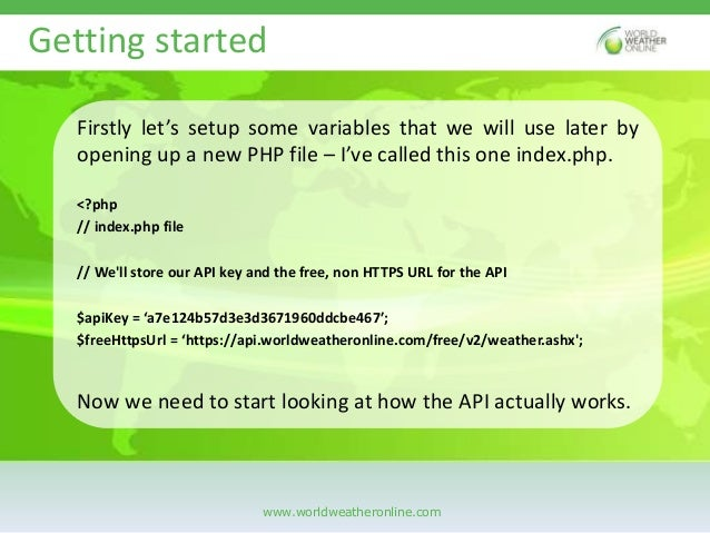 Getting started with World Weather Online API with PHP