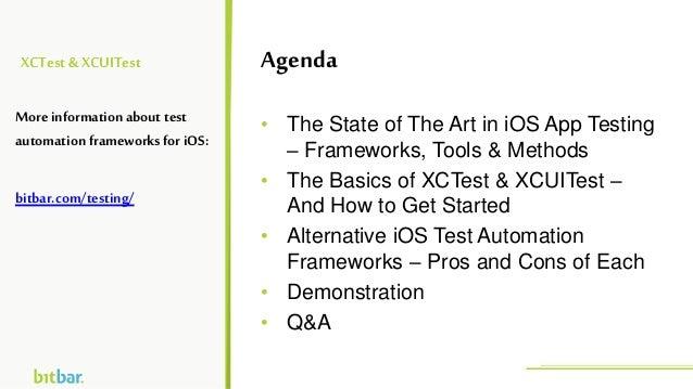 XCTest&XCUITest • The State of The Art in iOS App Testing – Frameworks, Tools & Methods • The Basics of XCTest & XCUITest ...