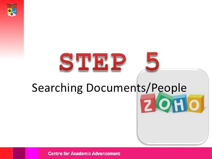 At your Zoho                page, you can   Type your                search either    keyword                 'Content' or...