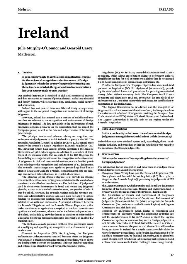 Matheson IRELAND www.gettingthedealthrough.com 39 Ireland Julie Murphy-O'Connor and Gearoid Carey Matheson 1 Treaties I...