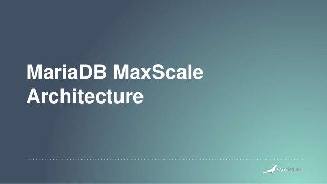 MariaDB MaxScale Architecture