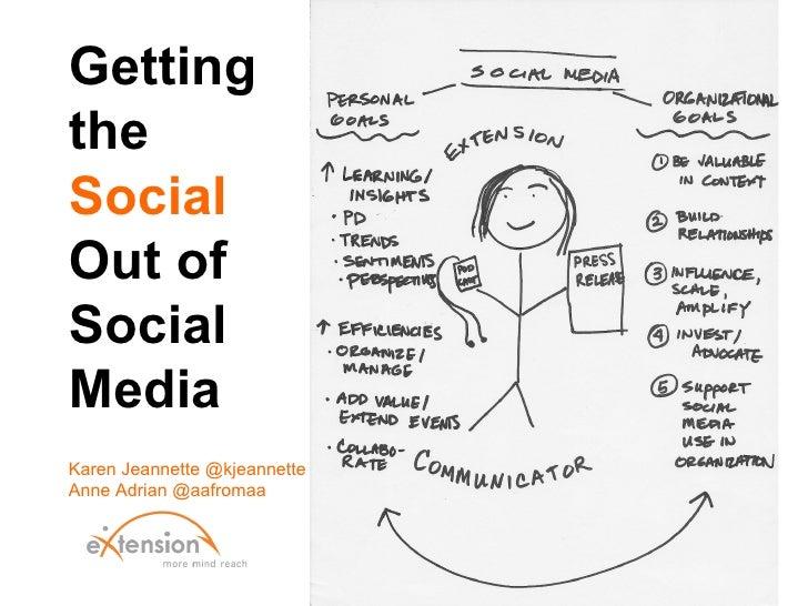 GettingtheSocialOut ofSocialMediaKaren Jeannette @kjeannetteAnne Adrian @aafromaa
