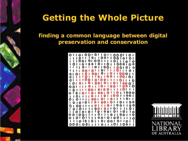 Getting the Whole Picturefinding a common language between digital       preservation and conservation