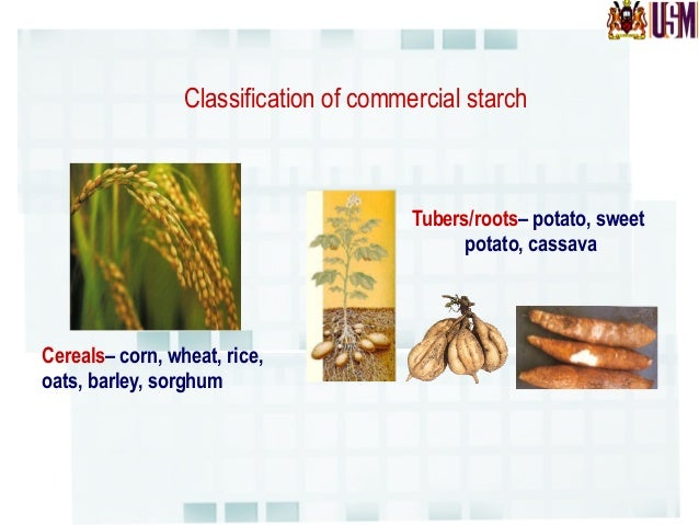 Classification of commercial starch Sago  starch  is  the  only  example  of   commercial  starch  deriv...