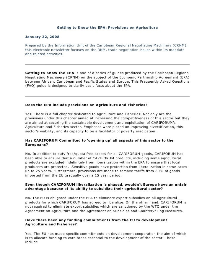 Getting to Know the EPA: Provisions on Agriculture  January 22, 2008  Prepared by the Information Unit of the Caribbean Re...