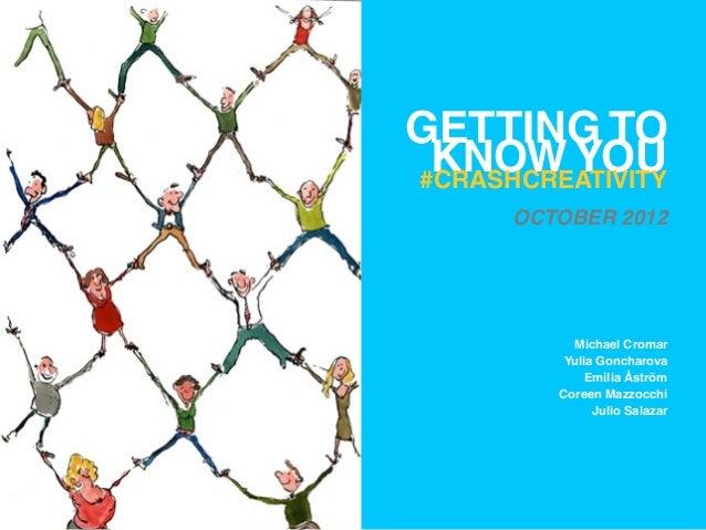 GETTING TO KNOW YOU#CRASHCREATIVITY      OCTOBER 2012           Michael Cromar          Yulia Goncharova              Emil...