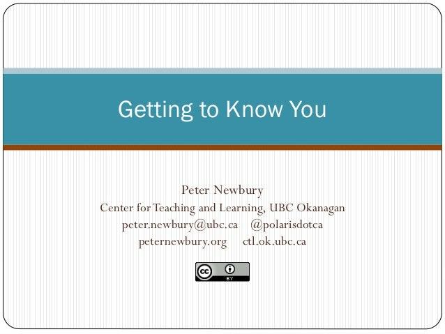 Peter Newbury Center forTeaching and Learning, UBC Okanagan peter.newbury@ubc.ca @polarisdotca peternewbury.org ctl.ok.ubc...