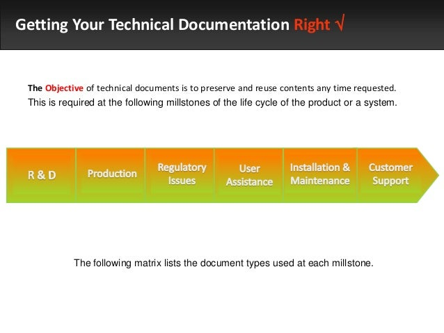 Getting Your Technical Documentation Right   The Objective of technical documents is to preserve and reuse contents any t...