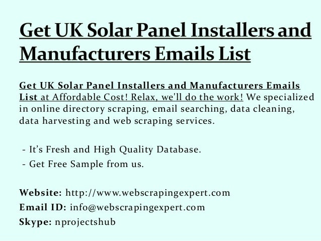 Get UK Solar Panel Installers and Manufacturers Emails List