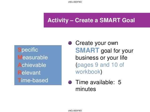 UNCLASSIFIED UNCLASSIFIED Activity – Create a SMART Goal Create your own SMART goal for your business or your life (pages ...