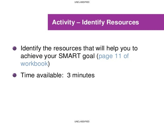 UNCLASSIFIED UNCLASSIFIED Activity – Identify Resources Identify the resources that will help you to achieve your SMART go...