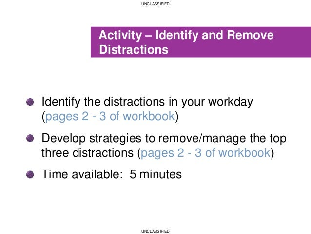 UNCLASSIFIED UNCLASSIFIED Activity – Identify and Remove Distractions Identify the distractions in your workday (pages 2 -...