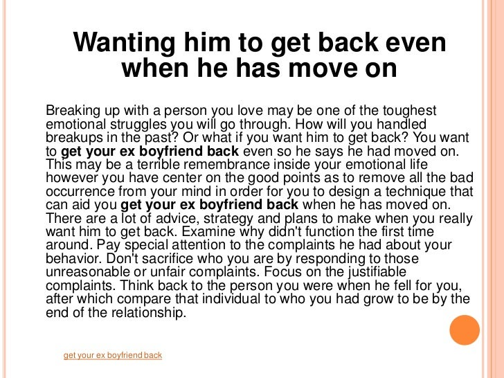 Get Your Ex Boyfriend Back