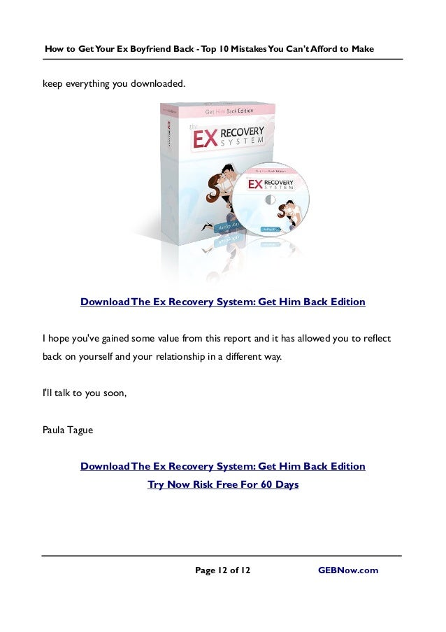 How To Make A Book For Your Boyfriend : Get your ex boyfriend back top mistakes you can t