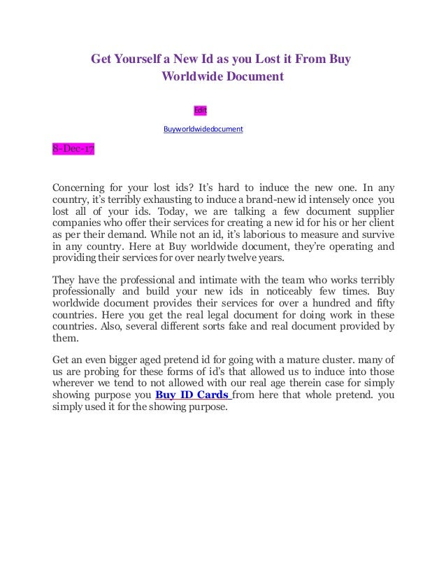 Get Yourself A New Id As You Lost It From Buy Worldwide Document - Buy legal documents