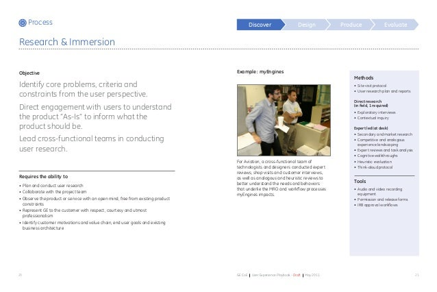 Process Design Produce Evaluate 20 21GE CoE User Experience Playbook - Draft May 2011 Methods • Site visit protocol • Us...