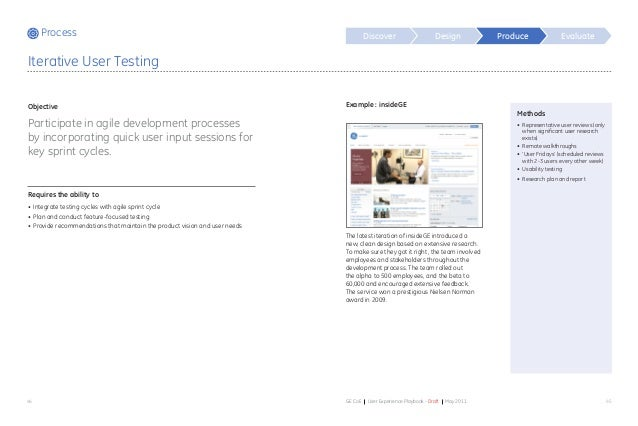 Process Discover Design Evaluate 44 45GE CoE User Experience Playbook - Draft May 2011 Example : insideGE The latest itera...