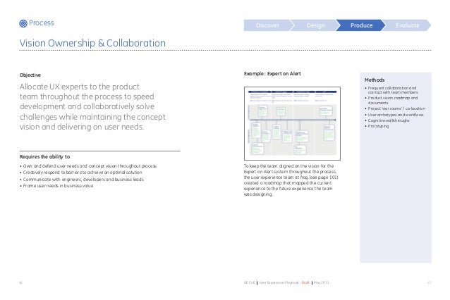Process Discover Design Evaluate 46 47GE CoE User Experience Playbook - Draft May 2011 Methods • Frequent collaboration a...