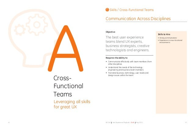 6362 GE CoE User Experience Playbook - Draft May 2011 ACross- Functional Teams Leveraging all skills for great UX Objectiv...