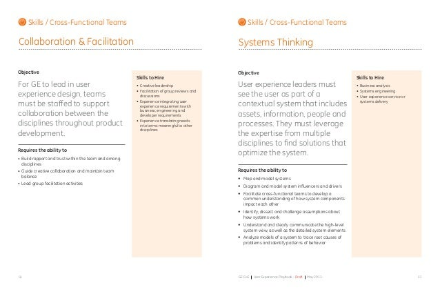 6564 GE CoE User Experience Playbook - Draft May 2011 Objective For GE to lead in user experience design, teams must be st...