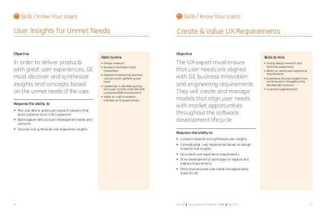 6968 GE CoE User Experience Playbook - Draft May 2011 Objective In order to deliver products with great user experiences, ...