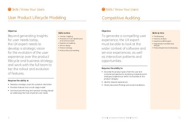 7170 GE CoE User Experience Playbook - Draft May 2011 Objective Beyond generating insights for user needs today, the UX ex...