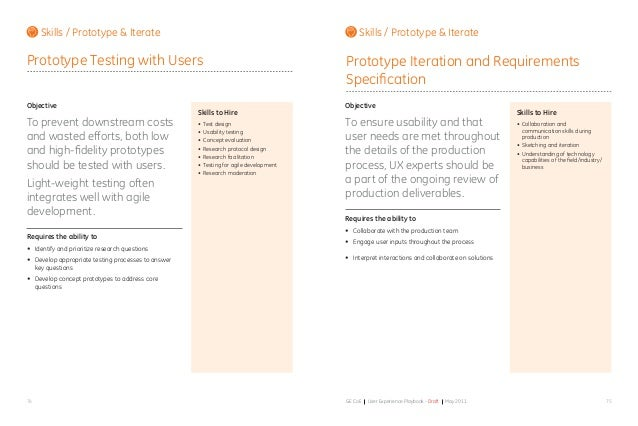 7574 GE CoE User Experience Playbook - Draft May 2011 Objective To prevent downstream costs and wasted efforts, both low a...