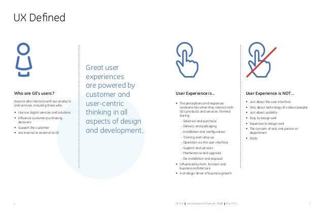 54 GE CoE User Experience Playbook - Draft May 2011 Who are GE's users? Anyone who interacts with our products and service...