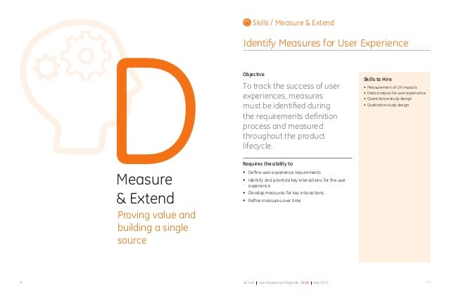 7776 GE CoE User Experience Playbook - Draft May 2011 DMeasure & Extend Proving value and building a single source Objecti...