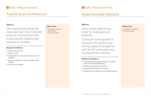 7978 GE CoE User Experience Playbook - Draft May 2011 Objective User experiences should be measured over time to identify ...