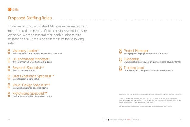 8180 GE CoE User Experience Playbook - Draft May 2011 Skills Proposed Staffing Roles To deliver strong, consistent GE user...